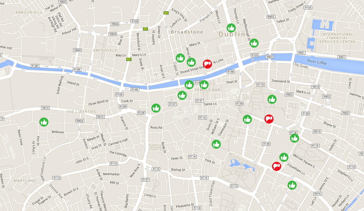 An access now map of Dublin, showing locations that are wheelchair accessible. apps like access now make accessible city breaks easier to plan