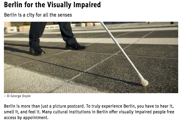 a screenshot of the accessible berlin website showing a visually impaired man navigating berlin. berlin is a good city for accessible city breaks