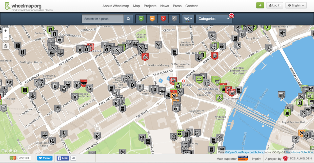 Wheelmap is a crowdsourced map app that highlights wheelchair accessible locations