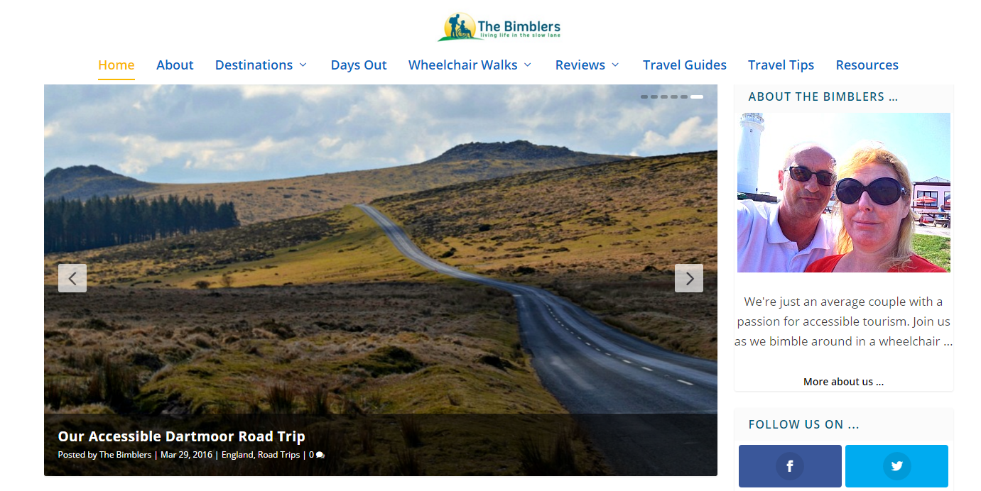 accessible travel blogs: the bimblers homepage