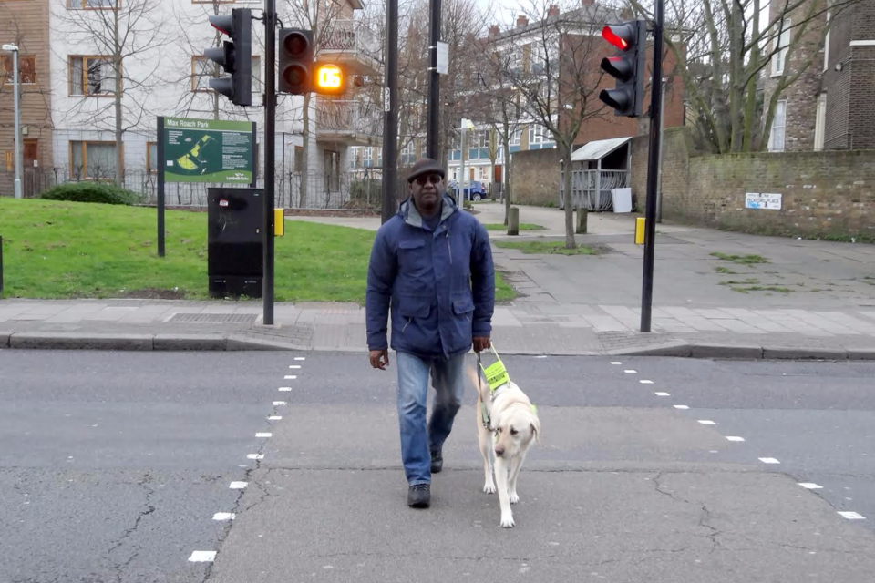 Patrick Robert, from Lambeth, is blind and uses his guide dog Rufus to travel around London