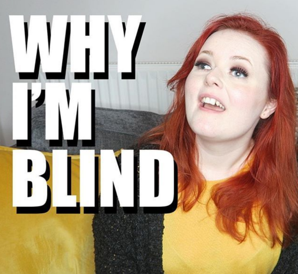Screenshot of Lucy's video: Why I'm Blind.