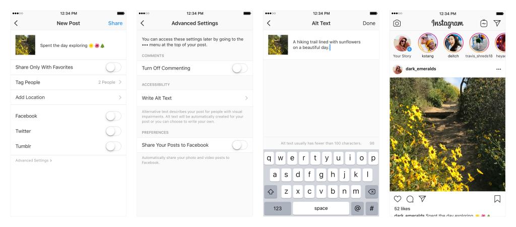 Screenshot of Instagram advanced settings